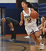 Emma LoPinto #12 of Manhasset transitions to offense after making a steal in the fourth quarter of a non-league girls basketball game against Farmingdale at Manhasset High School on Saturday, Dec. 8, 2018. She scored 16 points Manhasset's 50-33 win.