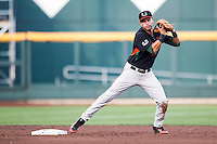 Miami Hurricanes shortstop Brandon Lopez (51) reaches to second for a force out against the Florida Gators in the NCAA College World Series on June 13, 2015 at TD Ameritrade Park in Omaha, Nebraska. Florida defeated Miami 15-3. (Andrew Woolley/Four Seam Images)