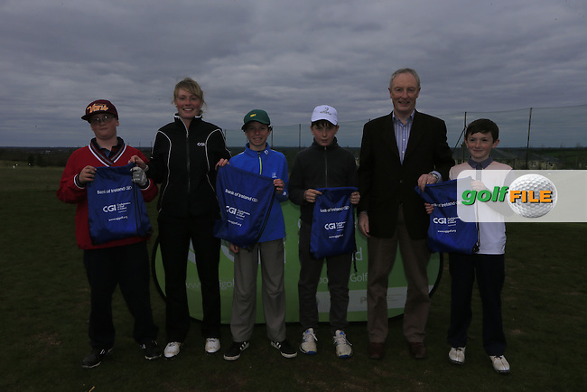 Royal Tara Golf Club boys With Kate Wright CGI and Brendan Byrne Bank of Ireland.<br /> Junior golfers from across Leinster practicing their skills at the regional finals of the Dubai Duty Free Irish Open Skills Challenge supported by Bank of Ireland at the Heritage Golf Club, Killinard, Co Laois. 2/04/2016.<br /> Picture: Golffile | Fran Caffrey<br /> <br /> <br /> All photo usage must carry mandatory copyright credit (&copy; Golffile | Fran Caffrey)