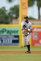 Shortstop Eduardo Nunez (12) of the Tampa Yankees makes a throw to first base at Roger Dean Stadium in Jupiter, FL, Wednesday July 16, 2008. (Photo by Brian Westerholt / Four Seam Images)