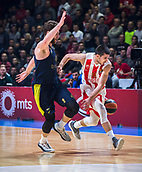 22nd March 2018, Aleksandar Nikolic Hall, Belgrade, Serbia; Turkish Airlines Euroleague Basketball, Crvena Zvezda mts Belgrade versus Fenerbahce Dogus Istanbul; Guard Ognjen Dobric of Crvena Zvezda mts Belgrade loses the ball near Forward Nicolo Melli of Fenerbahce Dogus Istanbul