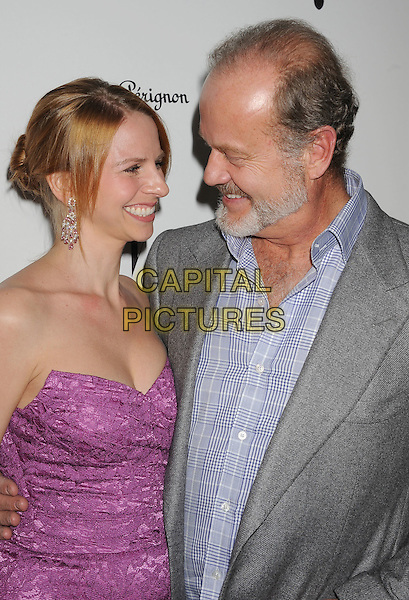 Kayte Walsh & Kelsey Grammer.W Magazine's 69th Annual Golden Globe Awards Celebration held at The Chateau Marmont, West Hollywood, California, USA..13th January 2012.half length pink dress strapless married husband wife grey gray jacket blazer suit lace purple smiling beard facial hair profile .CAP/ROT/TM.©Tony Michaels/Roth Stock/Capital Pictures