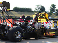 Jun. 29, 2012; Joliet, IL, USA: A crew member for NHRA top fuel dragster driver Troy Buff during qualifying for the Route 66 Nationals at Route 66 Raceway. Mandatory Credit: Mark J. Rebilas-