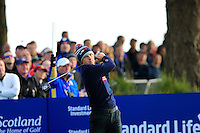Jordan Spieth (USA) on the 2nd tee during the Saturday Fourball Matches of the Ryder Cup at Gleneagles Golf Club on Saturday 27th September 2014.<br /> Picture:  Thos Caffrey / www.golffile.ie