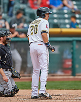 Ramon Flores (20) of the Salt Lake Bees at bat against the El Paso Chihuahuas in Pacific Coast League action at Smith's Ballpark on April 30, 2017 in Salt Lake City, Utah. El Paso defeated Salt Lake 3-0. This was Game 1 of a double-header. (Stephen Smith/Four Seam Images)