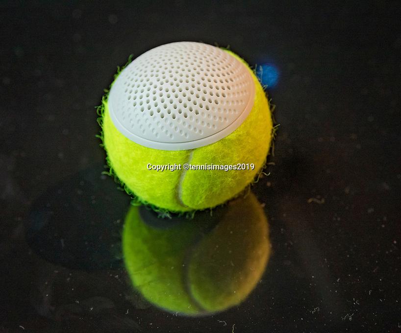 Rotterdam, The Netherlands, 14 Februari 2019, ABNAMRO World Tennis Tournament, Ahoy, The speaker, recycled tennisbal with good aucoustics<br /> Photo: www.tennisimages.com/Henk Koster