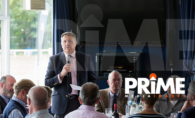 London Scottish President Paul Burnell addresses guests in hospitality ahead of the Pre Season Friendly match between London Scottish Football Club and Cardiff Blues at Richmond Athletic Ground, Richmond, United Kingdom on 19 August 2017. Photo by Andy Rowland.