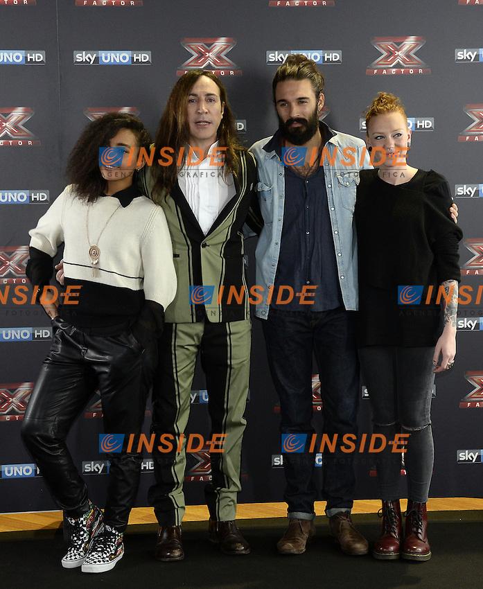 Db Milano 26/10/2016 - photocall trasmissione Tv 'X-Factor' / foto Daniele Buffa/Image/Insidefoto <br /> nella foto: Manuel Agnelli-Eva Pevarello-Andrea Biagioni-Alessandra Fortes Silva