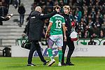 01.12.2018, Weserstadion, Bremen, GER, 1.FBL, Werder Bremen vs FC Bayern Muenchen<br /> <br /> DFL REGULATIONS PROHIBIT ANY USE OF PHOTOGRAPHS AS IMAGE SEQUENCES AND/OR QUASI-VIDEO.<br /> <br /> im Bild / picture shows<br /> Milos Veljkovic (Werder Bremen #13) verletzt mit bandagiertem Oberschenkel links, <br /> <br /> Foto &copy; nordphoto / Ewert