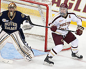 Steven Summerhays (ND - 1), Bill Arnold (BC - 24) - The visiting University of Notre Dame Fighting Irish defeated the Boston College Eagles 7-2 on Friday, March 14, 2014, in the first game of their Hockey East quarterfinals matchup at Kelley Rink in Conte Forum in Chestnut Hill, Massachusetts.