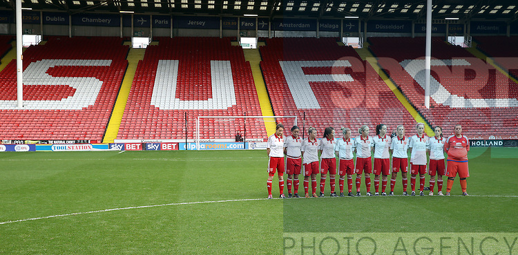 The Sheffield United Ladies' team observe a minutes silence before kick off during the FA Women's Cup First Round match at Bramall Lane Stadium, Sheffield. Picture date: December 4th, 2016. Pic Clint Hughes/Sportimage