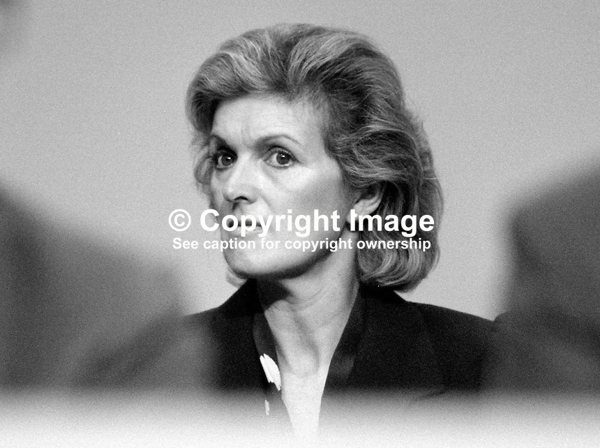 Ann Heseltine, wife, Michael Heseltine, MP, Conservative Party, UK, Secretary of State for Defence, on platform during 1984 annual conference, Brighton. 19840172AH1.<br />