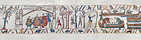 Bayeux Tapestry scene 35:  Duke William reacts to Harold's Corination by ordering an invasion fleet to be built. BYX35