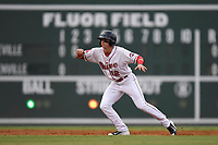 Designated hitter Brett Netzer (12) of the Greenville Drive runs the bases during a game against the Asheville Tourists on Wednesday, August 2, 2017, at Fluor Field at the West End in Greenville, South Carolina. Greenville won, 1-0. (Tom Priddy/Four Seam Images)