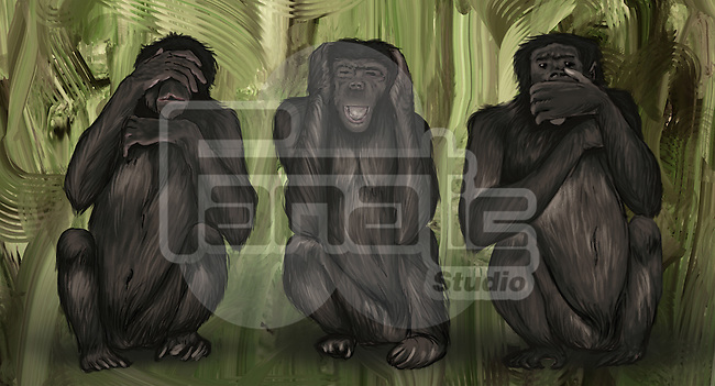 Illustrative image of three monkeys covering eyes, ears and mouth representing immorality