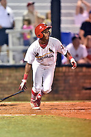 Johnson City Cardinals center fielder Magneuris Sierra #31 swings at a pitch during a game against the Danville Braves at Howard Johnson Field September 4, 2014 in Johnson City, Tennessee. The Braves defeated the Cardinals 6-1. (Tony Farlow/Four Seam Images)