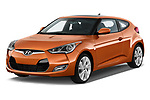 2017 Hyundai Veloster Manual 5 Door Hatchback Angular Front stock photos of front three quarter view