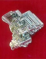 BISMUTH - Bi<br /> Crystal formation after industrial purification.  Post transition metal.