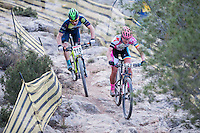 Chelva, SPAIN - MARCH 6: Paola Zahonero, Manuel Gonzalez during Spanish Open BTT XCO on March 6, 2016 in Chelva, Spain