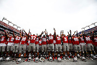 Ohio State Buckeyes sing Carmen ohio after the college football game between the Ohio State Buckeyes and the Navy Midshipmen at M&T Bank Stadium in Baltimore, Saturday afternoon, August 30, 2014. The Ohio State Buckeyes defeated the Navy Midshipmen 34 - 17. (The Columbus Dispatch / Eamon Queeney)