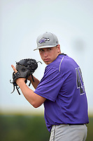 Wisconsin-Whitewater Warhawks pitcher Lake Bachar (45) poses for a photo after a game against the St. Thomas Tommies on March 27, 2016 at Lake Myrtle Park in Auburndale, Florida.  Wisconsin-Whitewater defeated St. Thomas 13-1.  (Mike Janes/Four Seam Images)