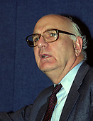 Former Chairman of the Federal Reserve Paul A. Volcker speaks at a press conference in Washington, DC on April 25, 1989.<br /> Credit: Arnie Sachs / CNP