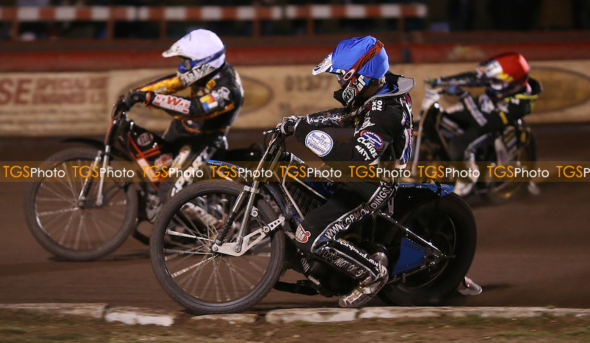 Heat 14: Daniel Nermark (white), Adam Ellis (blue) and Mikkel Bech (red) - Lakeside Hammers vs Birmingham Brummies, Elite League Speedway at the Arena Essex Raceway, Pufleet - 11/04/14 - MANDATORY CREDIT: Rob Newell/TGSPHOTO - Self billing applies where appropriate - 0845 094 6026 - contact@tgsphoto.co.uk - NO UNPAID USE