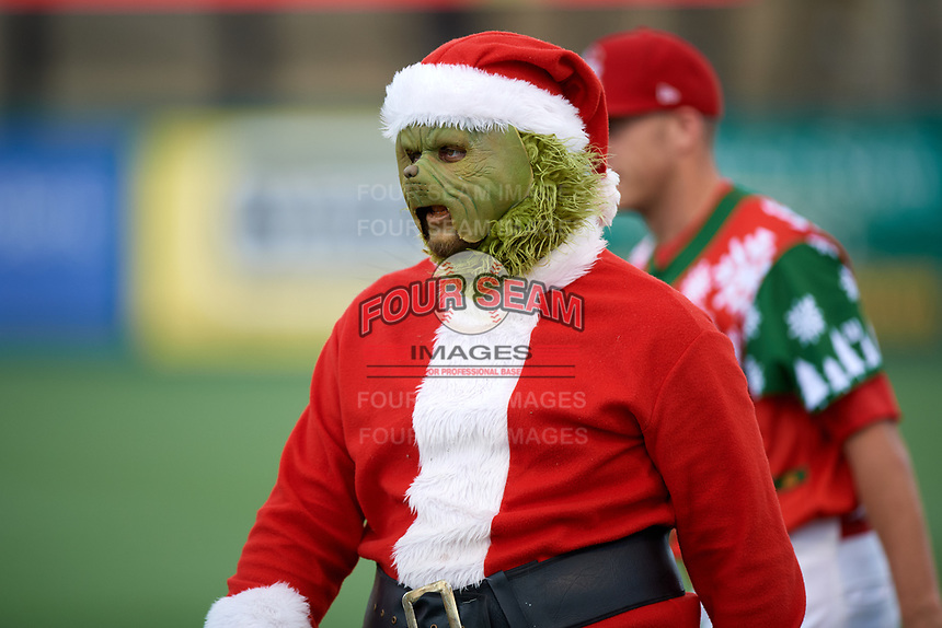 "The grinch during a Palm Beach Cardinals game against the Charlotte Stone Crabs on July 22, 2017 at Roger Dean Stadium in Palm Beach, Florida.  The Cardinals wore special ""Ugly Sweater"" jerseys for Christmas in July.  Charlotte defeated Palm Beach 5-2.  (Mike Janes/Four Seam Images)"