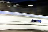 USA, Utah, Park City, a bobsled enters turn 12 at 80 miles per hour, Utah Olympic Park