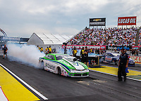 Aug 30, 2014; Clermont, IN, USA; NHRA pro stock driver Dave Connolly during qualifying for the US Nationals at Lucas Oil Raceway. Mandatory Credit: Mark J. Rebilas-USA TODAY Sports