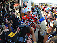 May 30, 2008; Dover, DE, USA; Nascar Sprint Cup Series driver Kyle Busch during qualifying for the Best Buy 400 at the Dover International Speedway. Mandatory Credit: Mark J. Rebilas-US PRESSWIRE
