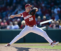 NWA Democrat-Gazette/ANDY SHUPE<br /> Arkansas reliever Kole Ramage delivers to the plate against Missouri Saturday, March 16, 2019, during the fifth inning at Baum-Walker Stadium in Fayetteville. Visit nwadg.com/photos to see more photographs from the game.
