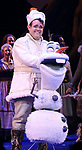 Olaf and Greg Hildreth during the Broadway Musical Opening Night Curtain Call for 'Frozen' at the St. James Theatre on March 22, 2018 in New York City.