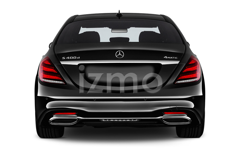 Straight rear view of a 2018 Mercedes Benz S Class Base 4 Door Sedan stock images