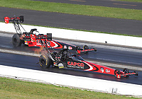 Jul 19, 2020; Clermont, Indiana, USA; NHRA top fuel driver Billy Torrence (near) alongside son Steve Torrence during the Summernationals at Lucas Oil Raceway. Mandatory Credit: Mark J. Rebilas-USA TODAY Sports