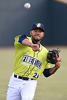 No. 7 MLB.com New York Mets prospect Simeon Woods-Richardson (21) of the Columbia Fireflies pitched 1.2 innings and struck out four in his Class A debut on Thursday, April 4, 2019, at Segra Park in Columbia, South Carolina. Charleston won, 2-1. (Tom Priddy/Four Seam Images)