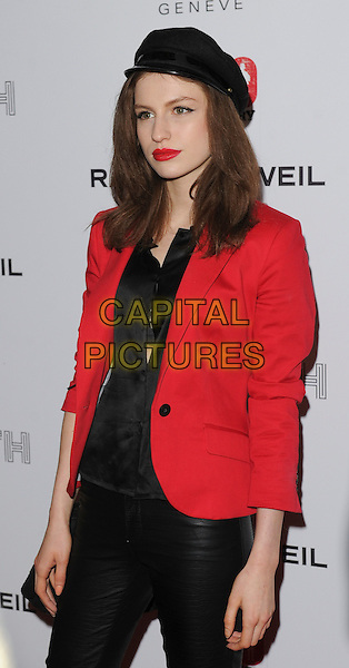 Tali Lennox.Attending the Raymond Weil Pre-Brit Awards Dinner and 20th anniversary celebration of War Child at Mosaica, Wood Green, London, UK, .January 24th 2013..half length black hat shirt red jacket blazer .CAP/GM/PP.©Gary Mitchell/PP/Capital Pictures