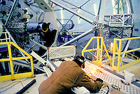 Welder working and repairing the keck telescope on Mauna Kea