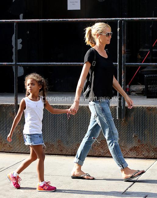 WWW.ACEPIXS.COM<br /> <br /> June 9 2015, New York City<br /> <br /> Heidi Klum walks with her daughter Lou Samuel in Tribeca on June 9 2015 in New York City<br /> <br /> By Line: Philip Vaughan/ACE Pictures<br /> <br /> ACE Pictures, Inc.<br /> tel: 646 769 0430<br /> Email: info@acepixs.com<br /> www.acepixs.com