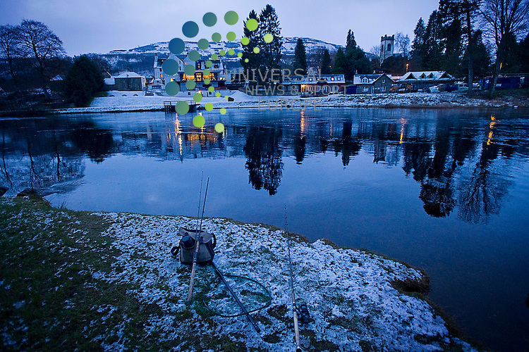 .The Tay at Kenmore, fishing kit marks preferred spots on the river ahead of the first cast on the opening day of the season, Kenmore, Scotland, 15th January, 2013  .Picture:Scott Taylor Universal News And Sport (Europe) .All pictures must be credited to www.universalnewsandsport.com. (Office)0844 884 51 22.