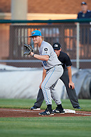 Hudson Valley Renegades first baseman Jacson McGowan (37) in front of first base umpire Sean Cassidy during a game against the Auburn Doubledays on September 5, 2018 at Falcon Park in Auburn, New York.  Hudson Valley defeated Auburn 11-5.  (Mike Janes/Four Seam Images)
