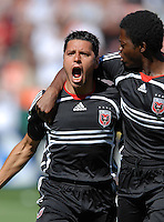 DC United midfielder Christian Gomez (10) celebrates with teammate Kasali Yinka Casal (6) after scoring the first goal of the game in the 48th minute. DC United defeated Chivas USA 2-1, at RFK Stadium in Washington DC, Sunday May 6, 2007.
