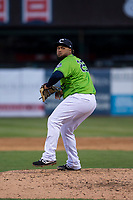 Kane County Cougars relief pitcher Wesley Rodriguez (25) during a Midwest League game against the Cedar Rapids Kernels at Northwestern Medicine Field on April 28, 2019 in Geneva, Illinois. Cedar Rapids defeated Kane County 3-2 in game two of a doubleheader. (Zachary Lucy/Four Seam Images)