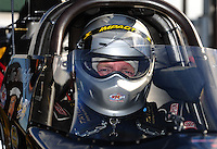 Nov 11, 2010; Pomona, CA, USA; NHRA top alcohol dragster driver Jim Whiteley during qualifying for the Auto Club Finals at Auto Club Raceway at Pomona. Mandatory Credit: Mark J. Rebilas-