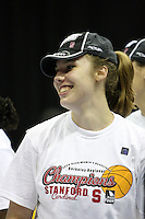 BERKELEY, CA - MARCH 30: Kayla Pedersen enjoys the celebration following Stanford's 74-53 win against the Iowa State Cyclones on March 30, 2009 at Haas Pavilion in Berkeley, California.