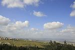 Israel, Lower Galilee, Arab village Kaukab Abu el-Hija (left) a view from Shkhanya forest