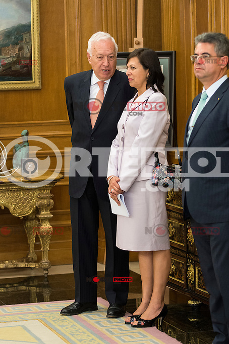 Minister of Foreign Affairs and Cooperation, Jos&eacute; Garc&iacute;a-Margallo attends to reception of the president of the republic of Per&uacute;, Sr. Ollanta Humala Tasso, y Sra. Nadine Heredia Alarc&oacute;n at Zarzuela Palace in Madrid, Spain. July 07, 2015.<br />  (ALTERPHOTOS/BorjaB.Hojas)