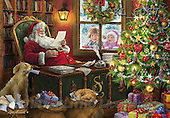 Interlitho, CHRISTMAS SANTA, SNOWMAN, WEIHNACHTSMÄNNER, SCHNEEMÄNNER, PAPÁ NOEL, MUÑECOS DE NIEVE, paintings+++++,santa's office,KL6067,#X# ,Marcello