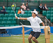 June 10th 2017,  Nottingham, England; ATP Aegon Nottingham Open Tennis Tournament day 1; Forehand volley from Mackenzie McDonald of USA who defeats James Ward of Great Britain in two sets