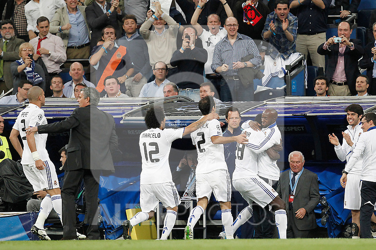 Real Madrid's Emanuel Adebayor scores during Champions League match on April, 5th 2011...Photo: Cesar Cebolla / ALFAQUI